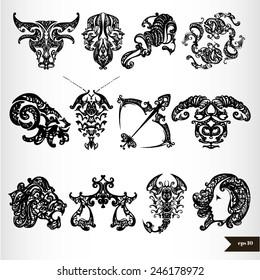 Black zodiac horoscope signs