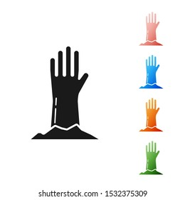 Black Zombie hand icon isolated on white background. Arm monster dead. Happy Halloween party. Set icons colorful. Vector Illustration