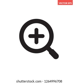 Black zoom in search icon with +, simple clear sign & symbol for ui ux app, glyphs flat design vector eps 10 isolated on white background