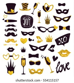 Black-and-gold moustaches, lips, masks,.. Glitter Photo Booth Props, isolated on background. Decorative elements for Valentines Day Party. Vector illustration, Love photo booth and scrapbooking set.