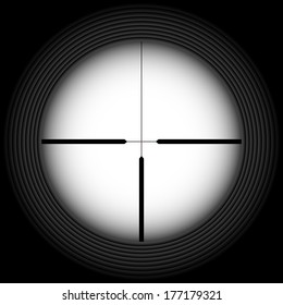 Black-and-white crosshair with blank space. Military and weapon