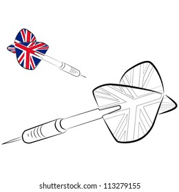 ?olor, black-and-white dart with a flag of the United Kingdom vector