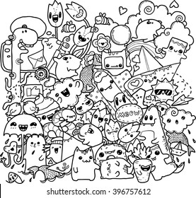 black-and-white doodles men spring flowers hand-drawn contour on a white background for children coloring
