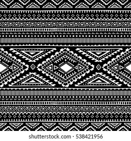 Black-and-white ethnic pattern. Seamless ornament. Tribe motives. Hand-made in grunge style. Vector illustration.