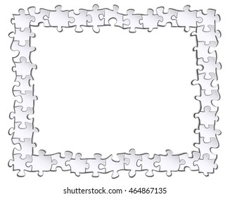 Black-and-white frame of the elements of the puzzle with a blank background for your design inside