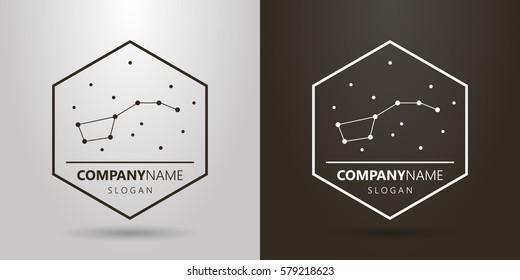 black-and-white logo bear constellation