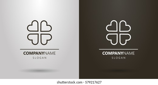 black-and-white logo of four abstract hearts