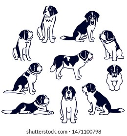 Black-and-white Saint Bernard dogs set isolated on white background. Simplified silhouettes of Saint Bernard dogs. Vector illustration.