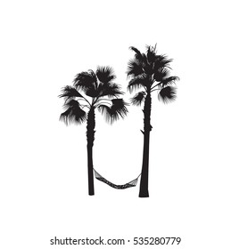 The black-and-white silhouette of two palm trees with a hammock