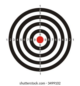 black-and-white target with the red center for game in a darts on a white background