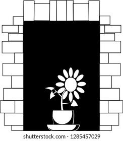 Black-and-white vector picture a flower in a pot on a window