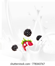 blackberries, strawberries, milk, yogurt, splash, vector