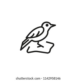 Blackbird line icon. Animal, nestling, ornithology. Nature concept. Vector illustration can be used for topics like wildlife, migration, springtime