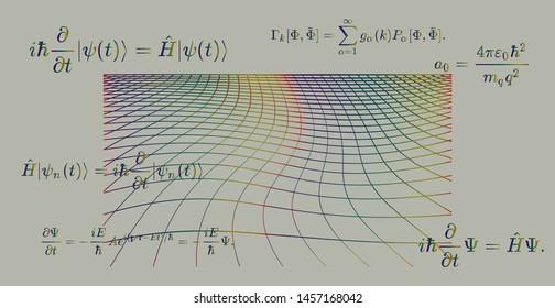 Blackboard with 3d shapes and fundamental Quantum Mechanics formulas: Schrodinger equation,  quantum field theory, ect. Conceptual illustration of quantum field fluctuations. Vector illustration.