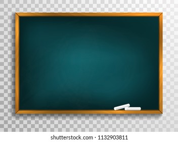 Blackboard background and wooden frame, rubbed out dirty chalkboard, vector illustration.