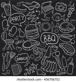 Blackboard BBQ Barbecue Day Doodle Icons Hand Made