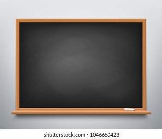 Blackboard with chalk hanging on the wall in the classroom. Stock vector illustration.
