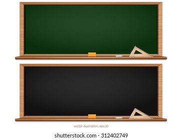 Blackboard. Chalkboard black and green. Back to school. Vector