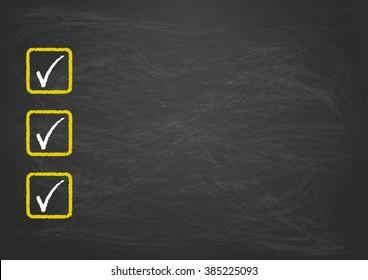 Blackboard checklist with 3 ticks. Eps 10 vector file.
