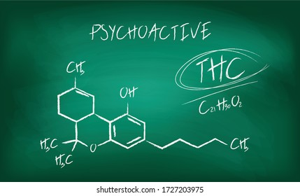Blackboard with the chemical formula of THC cannabis molecule