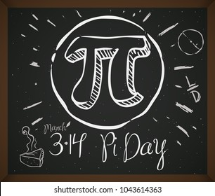 Blackboard with doodles associated to celebrate Pi Day: pie cake, circle, ratio, diameter of circumference and date for this holiday in March 14.