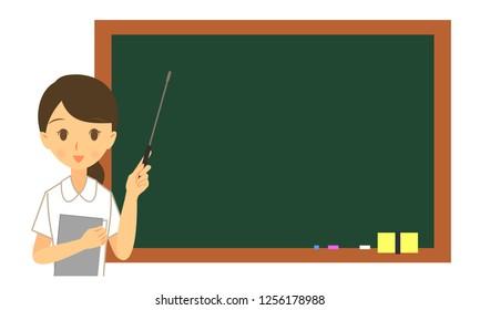 Blackboard and female nurse