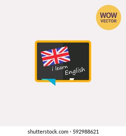 Blackboard with flag of England icon