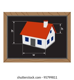 blackboard with home and sizes of the sides. vector illustration