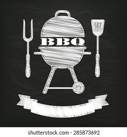 Blackboard with kettler BBQ and ribbon. Eps 10 vector file.