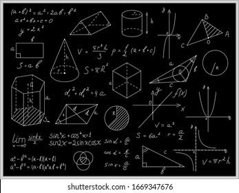 Blackboard Mathematical with Thin Line Shapes and Inscriptions Include of Formula, Calculation and Equation. Vector illustration
