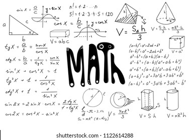 Blackboard mathematical vector pattern with geometrical figures and formulas, used for school education and document decoration. Isolated, you can use any color of background. EPS 10