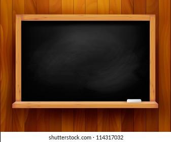 Blackboard on wooden background. Vector illustration.