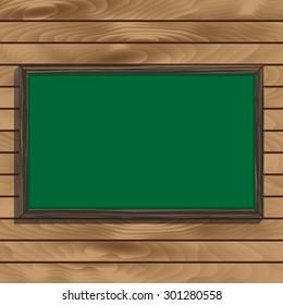 Blackboard On Wooden Background. Vector Illustration