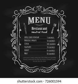 Blackboard restaurant menu vintage hand drawn frame label vector