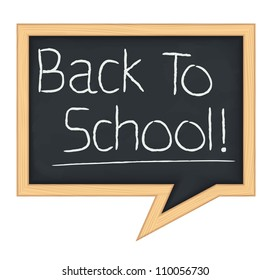 Blackboard speech bubble with back to school text, vector eps10 illustration