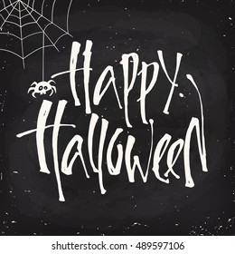 Blackboard style vector Halloween poster design with halloween symbol and Happy Halloween lettering. Cartoon style halloween card. Party invitation design.