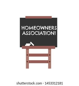 Blackboard with text Homeowners Association. business concept.