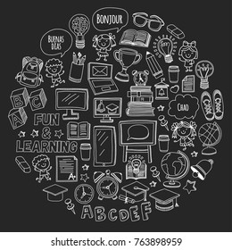 Blackboard Vector doodle set Children language school Kindergarten kids Pattern with doodle kids drawing style icons Play and study and grow Creative images for college, university, school