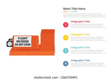 blackbox or black box infographics template with 4 points of free space text description - vector illustration