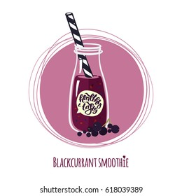 Blackcurrant smoothie. Cute bottle of healthy cocktail. Detox drink. Healthy & tasty beverage from garden and forest berries. Vector illustration. Hand drawn lettering.