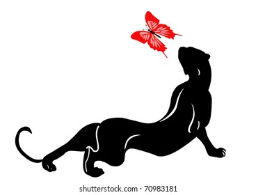 blackenning panther plays with butterfly