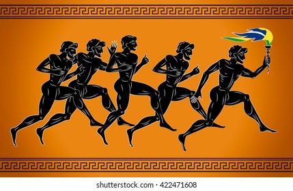 Black-figured runners with the torch in the colors of the Brazilian flag. Illustration in the ancient greek style. Sport concept illustration.