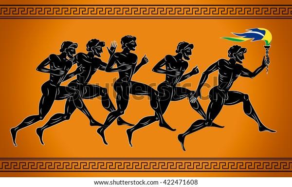 Черные бегуны с факелом в цветах бразильского флага. Иллюстрация в древнегреческом стиле. Иллюстрация концепции спорта.