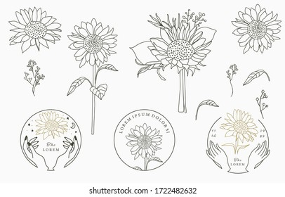 Black,gold flower collection with flower,leaves,geometric.Vector illustration for icon,sticker,printable and tattoo