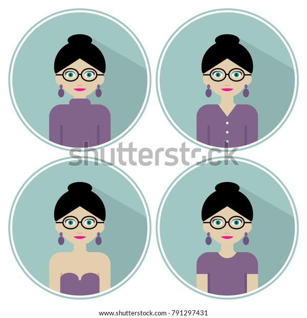 Blackhaired Woman Bun Glasses Different Clothes Stock Vector