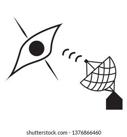 blackhole icon with radio telescope. vector design illustration.