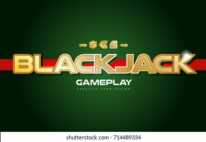 blackjack  black jack text with gold texture on a green background suitable as a postcard or banner design for a card game