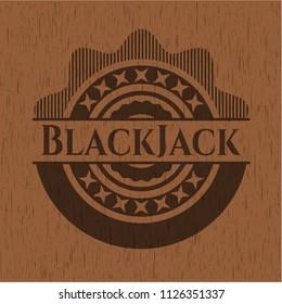 BlackJack retro wood emblem