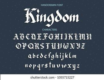 Blackletter gothic script hand-drawn font. Decorative vintage styled letters.