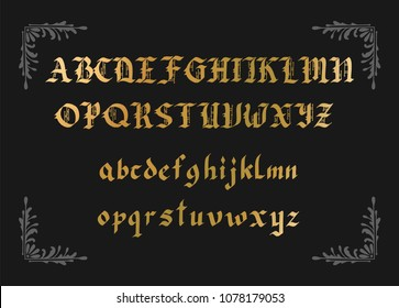 Blackletter gothic script hand-drawn font. Decorative vintage styled vector letters.